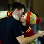 Miley Cyrus and Patrick Schwarzenegger Kiss at USC Football Game