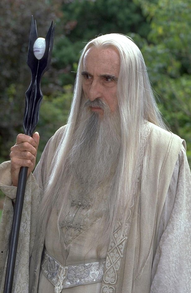 Sir Christopher Lee pictured as saruman in lord of the rungs triology