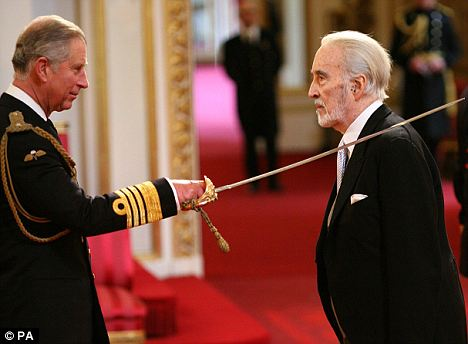 Sir Christopher Lee being knighted in UK
